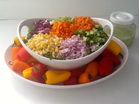 Raw vegan Chopped salad and dressing for potlucks or parties